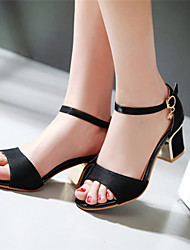 お買い得  -女の子 靴 レザーレット 春 夏 チャンキーヒール ブロックヒール ベックル アイレット のために アウトドア ドレスシューズ ブラック ベージュ レッド