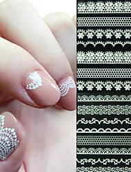 Недорогие -6 pcs 3D наклейки на ногти Стикеры кружева маникюр Маникюр педикюр Абстракция / Свадьба / Мода Повседневные / Наклейка кружева / 3D-стикеры для ногтей