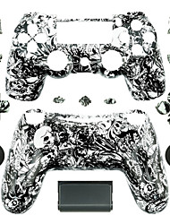 cheap -Replacement Controller Case for PS4 Controller (Black and White Ghost Head)