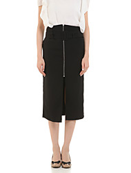 cheap -Women's Work Street chic Cotton A Line Skirts - Solid Colored Split