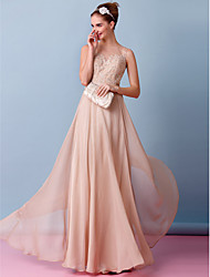 A-Line Illusion Neckline Floor Length Chiffon Wedding Dress with Appliques by LAN TING BRIDE®