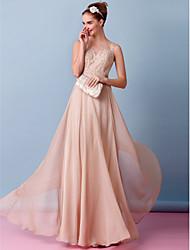 Linea-A Scollo a Illusione Lungo Chiffon Vestito da sposa con Con applique di LAN TING BRIDE®