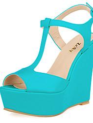 cheap -Women's Leatherette Summer Platform / Wedge Heel Light Blue / Nude / Burgundy / Party & Evening / Party & Evening