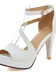 baratos -Calçados Femininos-Sandálias-Peep Toe / Plataforma-Salto Cone-Preto / Azul / Rosa / Branco / Bege-Courino-Casamento / Social / Festas &