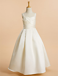 cheap -A-Line Floor Length Flower Girl Dress - Satin Sleeveless Spaghetti Straps with Sash / Ribbon by LAN TING BRIDE®