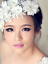 Women's Lace Crystal Pearl Headband Forehead Hair Jewelry for Wedding Party