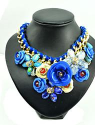 Женский Ожерелья с подвесками Воротничок Драгоценный камень Сплав Розовый Синий Бижутерия Для вечеринок Повседневные 1шт
