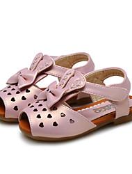 Para Meninas-Sandálias-Conforto Menina Flor Shoes-Rasteiro-Rosa Prateado Dourado-Courino-Casamento Ar-Livre Social Casual Festas & Noite