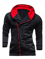 cheap -Men's Long Sleeves Hoodie Jacket - Solid Colored