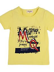 preiswerte -Jungen T-Shirt Baumwolle Sommer Kurzarm Blumig Gelb