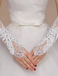 Elbow Length Fingerless Glove Satin Lace Bridal Gloves Party/ Evening Gloves Embroidery Rhinestone