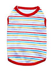abordables -Chat Chien Tee-shirt Vêtements pour Chien Respirable Mode Rayure Noir Orange Rouge Vert Bleu Costume Pour les animaux domestiques