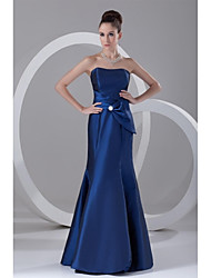 Mermaid / Trumpet Strapless Floor Length Taffeta Formal Evening Dress with Crystal Detailing Side Draping by XFLS