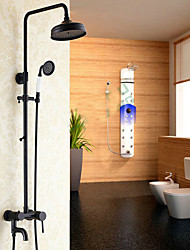 cheap -Contemporary Centerset Waterfall Rain Shower Handshower Included Ceramic Valve One Hole Single Handle Two Holes Chrome, Shower Faucet