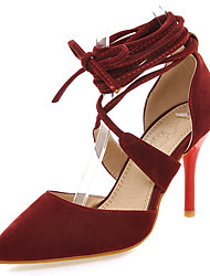 cheap -Women's / Girls' Shoes Leatherette Spring / Summer Stiletto Heel Lace-up / Hollow-out Black / Beige / Red / Dress
