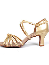 cheap -Women's Dance Shoes Latin Leatherette Stiletto Heel Silver / Gold Customizable