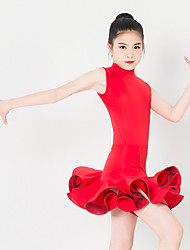 cheap -Kids' Dancewear Dresses Children's Performance Spandex Polyester Ruffles 1 Piece Sleeveless Dress