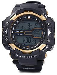baratos -Homens Relógio Esportivo / Relógio de Pulso Alarme / Calendário / Cronógrafo PU Banda Preta / Impermeável / LED