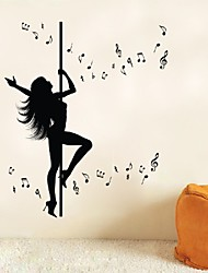 cheap -Dancing Girl Music Note Home Wall Sticker Living Room Removable Waterproofing Wall Decal Stickers Room