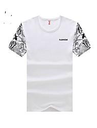 お買い得  -男性用 プリント カジュアル Tシャツ,半袖 コットン,ブラック / ブルー / レッド / ホワイト