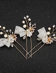 Mulheres Menina das Flores Renda Strass Liga Imitação de Pérola Resina Capacete-Casamento Ocasião Especial Alfinete de Cabelo 2 Peças