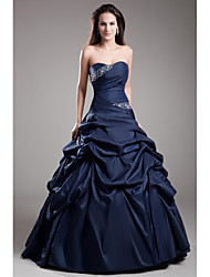 Ball Gown Strapless Floor Length Taffeta Formal Evening Dress with Beading Pick Up Skirt by TS Couture®