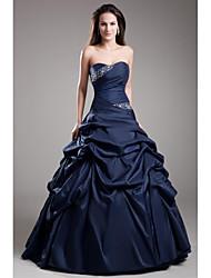 preiswerte -Ballkleid Trägerlos Boden-Länge Taft Formeller Abend Kleid mit Perlenstickerei Geraffter Rock durch TS Couture®