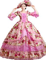 Victorien Rococo Femme Une Pièce Robes Rose Cosplay Dentelle Manches Longues