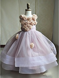 Ball Gown Sweep / Brush Train Flower Girl Dress - Satin Tulle Sleeveless Jewel Neck with Flower(s) Sash / Ribbon by LAN TING BRIDE®