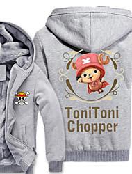 preiswerte -Inspiriert von One Piece Monkey D. Luffy Anime Cosplay Kostüme Cosplay Hoodies Druck Grau Lange Ärmel Top Für