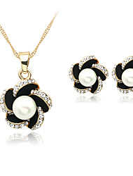cheap -Women's Pearl Jewelry Set - Pearl, Imitation Pearl, Rhinestone Include Necklace / Earrings Black For Wedding / Party / Daily / Silver Plated