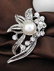 cheap -Wedding Style Elegant Silver Plated Rhinestone Brooch