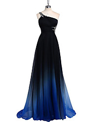 Sheath / Column One Shoulder Sweep / Brush Train Chiffon Formal Evening Dress with Beading Side Draping by Luoge