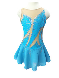 cheap -Figure Skating Dress Women's Girls' Ice Skating Dress Light Blue Rhinestone Outdoor clothing Performance Skating Wear Handmade Classic