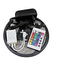 abordables -jiawen fiexble led bande de lumière 5m 3528smd 30leds / m rvb étanche avec 3a adaptateur secteur et télécommande 100-240v ac