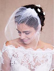 cheap -One-tier Raw Edge Wedding Veil Blusher Veils Veils for Short Hair Headpieces with Veil 53 Tulle
