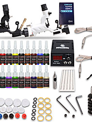 cheap -Tattoo Machine Starter Kit 2 rotary machine liner & shader LCD power supply 1 x stainless steel grip 5 pcs Tattoo Needles