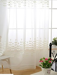 cheap -Sheer Curtains Shades Dining Room Poly / Cotton Blend Embroidery