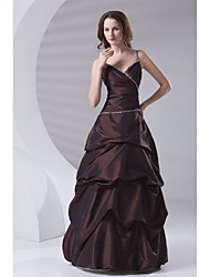 A-Line Spaghetti Straps Floor Length Taffeta Formal Evening Dress with Beading Pick Up Skirt Side Draping by TS Couture®