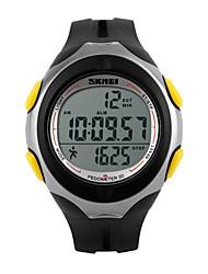 Недорогие -Муж. Спортивные часы Наручные часы электронные часы Цифровой Стеганная ПУ кожа Черный 30 m Защита от влаги Будильник Календарь Цифровой Роскошь - Черный Желтый Два года Срок службы батареи / LED