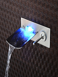 cheap -Brushed LED Blue / Green / Red Light Waterfall Wall Mounted Bathroom Basin Faucet - Black/Silver/Gray