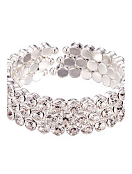 Three Layer Rhinestone Crystal No Clasp Elastic cuff Bangles Bracelet Jewelry (One Size for All)
