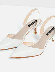 cheap -Women's Shoes Microfibre Summer Low Heel Buckle for Dress White Nude