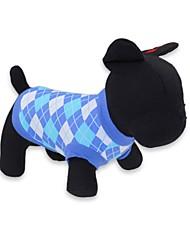 povoljno -Mačka Pas T-majica Odjeća za psa Plaid/Check Crvena Plava Pamuk Kostim Za kućne ljubimce Muškarci Žene Moda