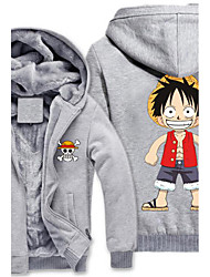 abordables -Inspirado por One Piece Monkey D. Luffy Animé Disfraces de cosplay sudaderas Cosplay Estampado Manga Larga Top Para Hombre
