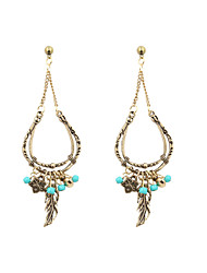 cheap -Women's Leaf Turquoise Drop Earrings - Golden Leaf Earrings For Wedding Party Daily Casual Sports