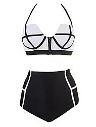 cheap -Women's Cute High Waist Retro Vintage Zip Swimsuit Push Up Padded Flattering Swimwear