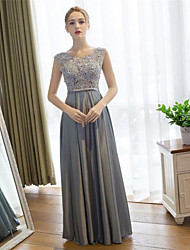 Sheath / Column Scoop Neck Floor Length Lace Satin Prom Formal Evening Dress with Lace by Embroidered bridal