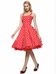 cheap -Women's Party Plus Size Vintage A Line Dress,Polka Dot Strap Knee-length Sleeveless Cotton Summer High Rise Inelastic Thin