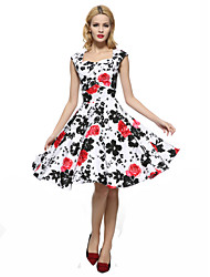 cheap -Maggie Tang Women's 50s VTG Retro Floral Rockabilly Hepburn Pinup Business Swing Dress 567